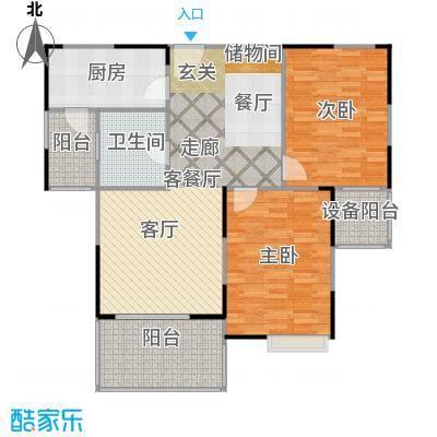 上海三湘海尚C2户型2室1厅1卫1厨