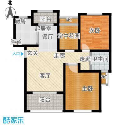 东方帕堤欧89.00㎡二房二厅一卫户型