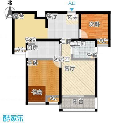 旭辉依云湾88.00㎡两室两厅一卫户型