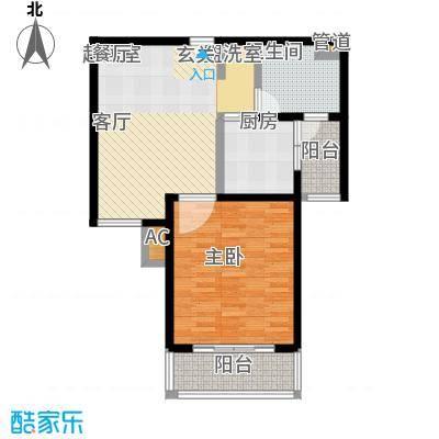 旭辉依云湾一房一厅一卫,,面积约72平方米户型