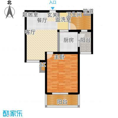 旭辉依云湾一房一厅一卫,,面积约73平方米户型