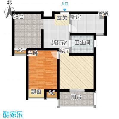 旭辉依云湾一房二厅一卫,,面积约78平方米户型