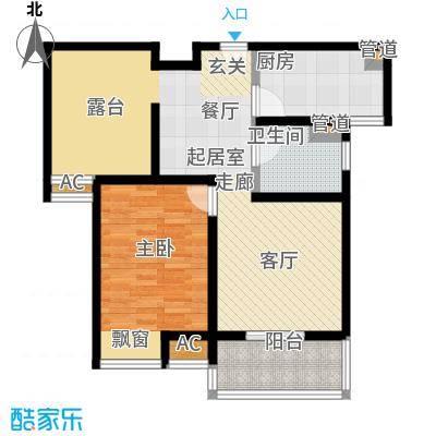 旭辉依云湾一房二厅一卫,面积约78平方米户型