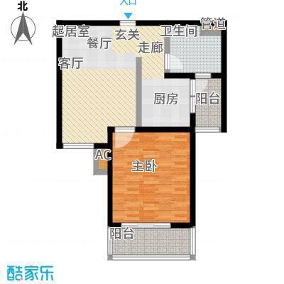 旭辉依云湾一房一厅一卫,面积约72平方米户型