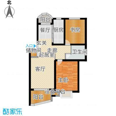 恺源景江苑92.00㎡房型: 二房; 面积段: 92 -109 平方米;户型