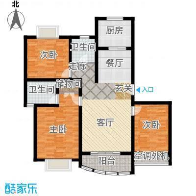 月泉湾名邸119.83㎡房型: 三房; 面积段: 119.83 -131.69 平方米;户型