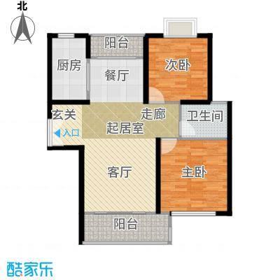 三花现代城三期房型户型2室1卫1厨