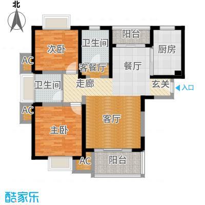 海尚明城(福地苑)三房二厅一卫,面积约104平方米户型