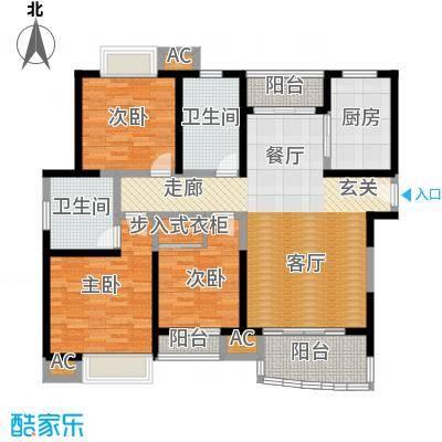 海尚明城(福地苑)三房二厅二卫,面积约126平方米户型
