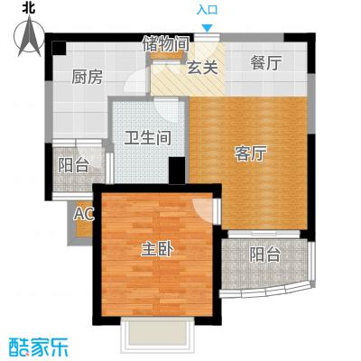 海尚明城(福地苑)一房二厅一卫,面积约61平方米户型