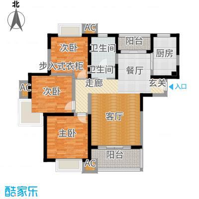 海尚明城(福地苑)三房二厅一卫,面积约115平方米户型