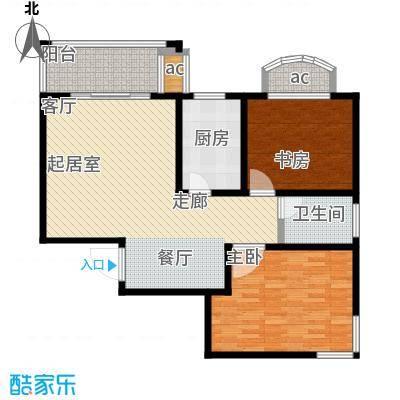 城投世纪名城一期两室两厅一卫105平米户型