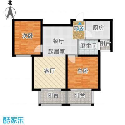 西上海名邸户型2室1卫1厨