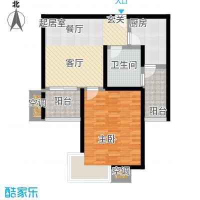 万里晶品苑一房二厅一卫,面积约65平方米户型