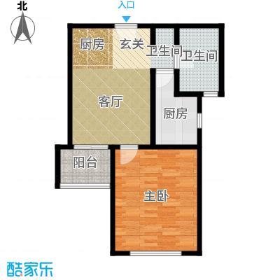 保利海上五月花一房一厅一卫,面积约56平方米户型