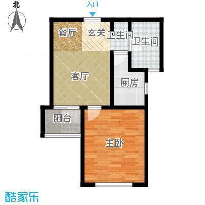 保利海上五月花50.00㎡一房一厅一卫-56平方米-23套-嘉定房地(2009)预字0210号户型