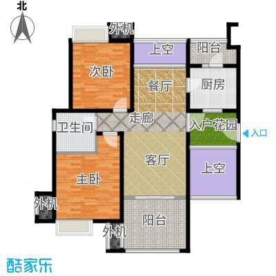保利海上五月花二房一厅一卫,面积约92平方米户型