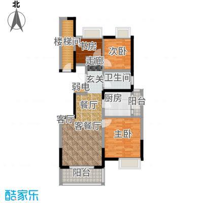 江桥万达广场公寓14-1号户型3室1厅1卫1厨