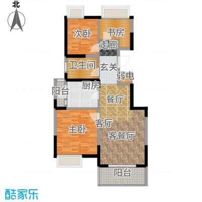 江桥万达广场公寓22-2号户型3室1厅1卫1厨