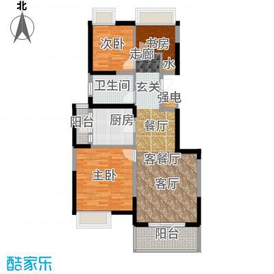 江桥万达广场公寓21-2号户型3室1厅1卫1厨