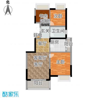 江桥万达广场公寓13-1号户型3室1厅1卫1厨