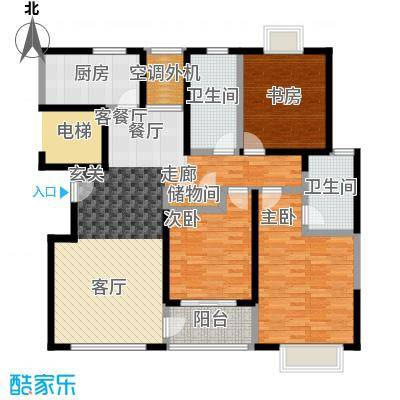 嘉乐东润舒庭4#201户型3室1厅2卫1厨