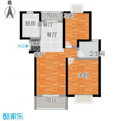 嘉乐东润舒庭6#201户型2室1厅1卫1厨