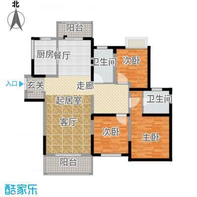 路劲翡丽湾C2户型3室2卫1厨