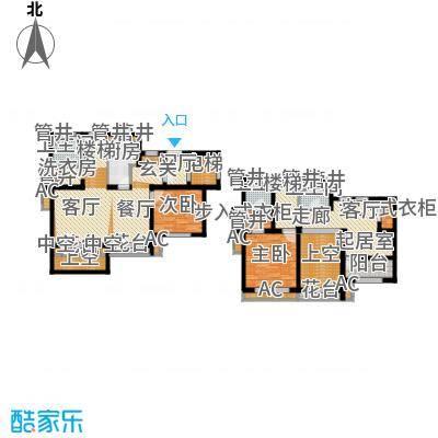 新城香溢澜庭155.00㎡E户型,三房两厅三卫户型3室2厅3卫