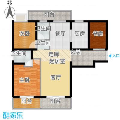 路劲翡丽湾D户型3室2卫1厨