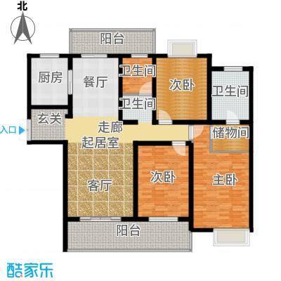 路劲翡丽湾E户型3室2卫1厨