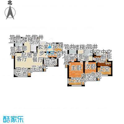 新城香溢澜庭149.00㎡D户型,四房两厅三卫户型4室2厅3卫
