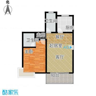康悦亚洲花园房型户型1室2卫1厨