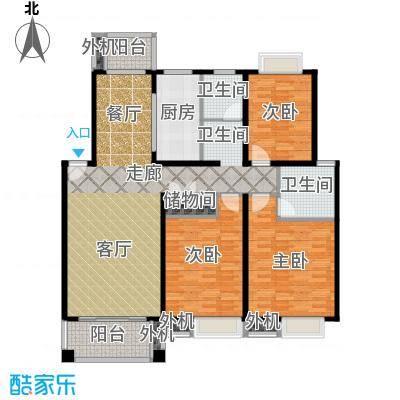 三湘世纪花城三期133.00㎡房型: 三房; 面积段: 133 -136 平方米; 户型