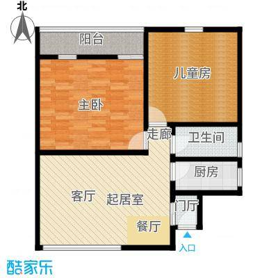 复旦书馨公寓80.17平米两室两厅一卫南北通房型户型