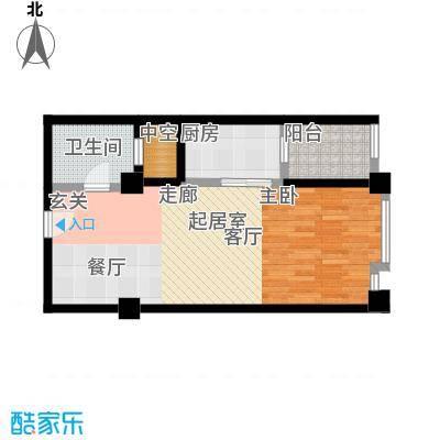 尚城河滨一房二厅一卫,面积约59平方米户型-T