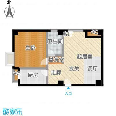 尚城河滨一房二厅一卫,面积约67平方米户型-T