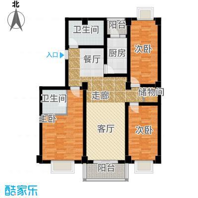 新明星花园三期房型户型3室2卫1厨