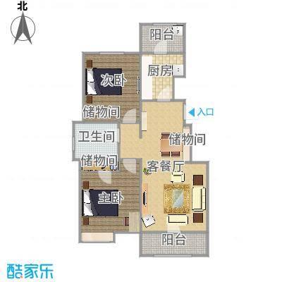 精品户型两室两厅一卫一厨两阳Hs025