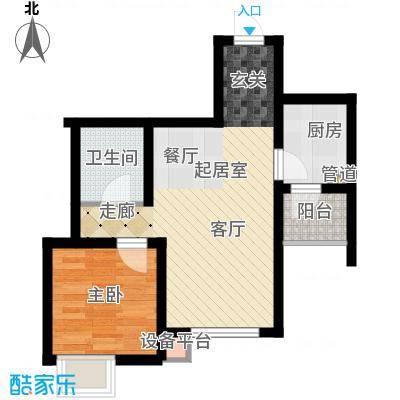 六合轩府58.00㎡5号楼标准层M户面积5800m户型
