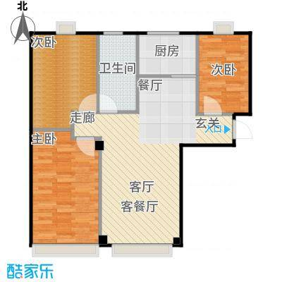 海天富地87.00㎡A户型三室二厅87平米户型图户型3室2厅1卫