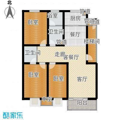 神奇庭院130.82㎡1号楼A平面面积13082m户型