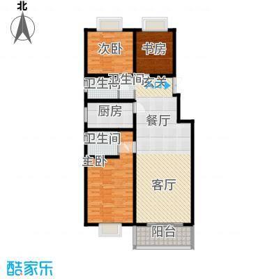水晶郦城120.43㎡书香三居室面积12043m户型