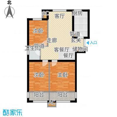 尚湖名筑108.88㎡2#、3#楼标准层面积10888m户型
