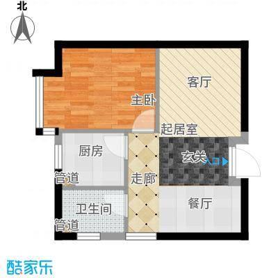 鹭港小区54.00㎡1居室面积5400m户型