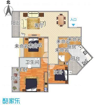 102方C1户型三房两厅二卫
