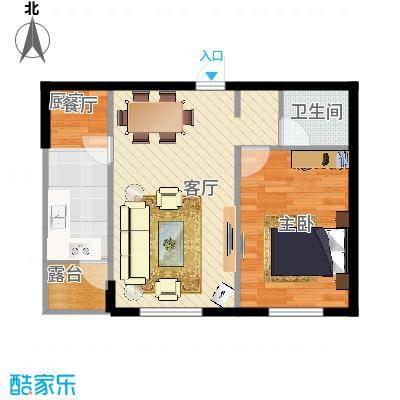 绿地福林D户型一室一厅60方
