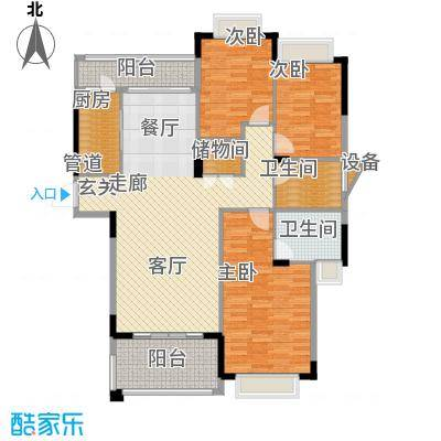 水岸豪庭126.12㎡23、26幢(303+面积12612m户型
