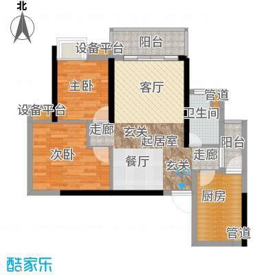 九龙1号82.00㎡C栋标准层02面积8200m户型
