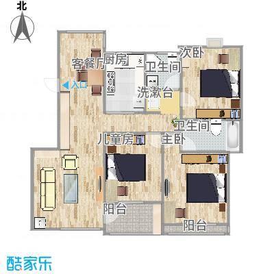 亚东城丽景雅苑122方C3户型三室两厅